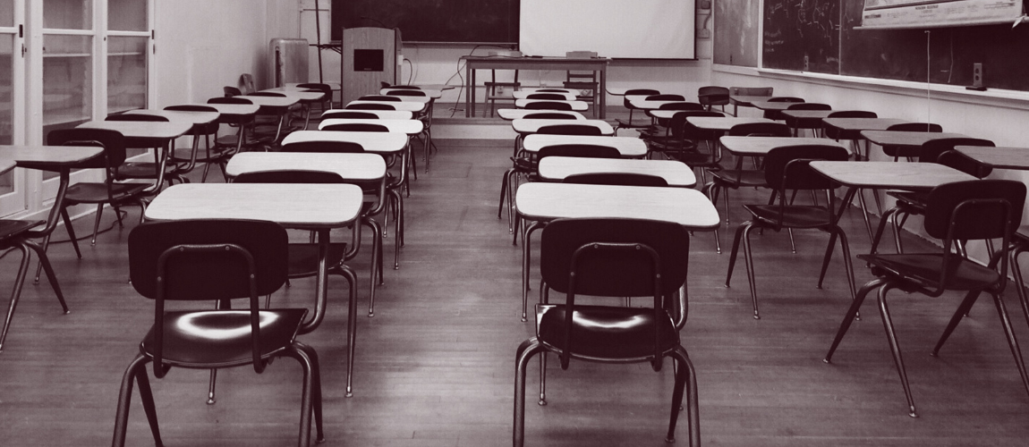 Back-of-a-classroom-in-black-and-white