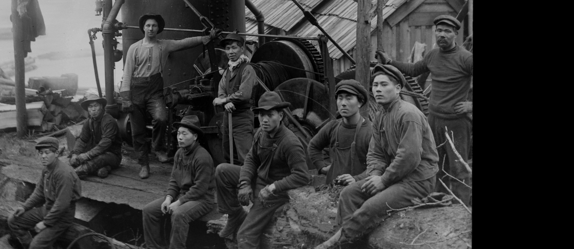 Chinese-Canadian-Shingle-Workers-Sitting-and-Standing-in-Front-of-Machinery-BC